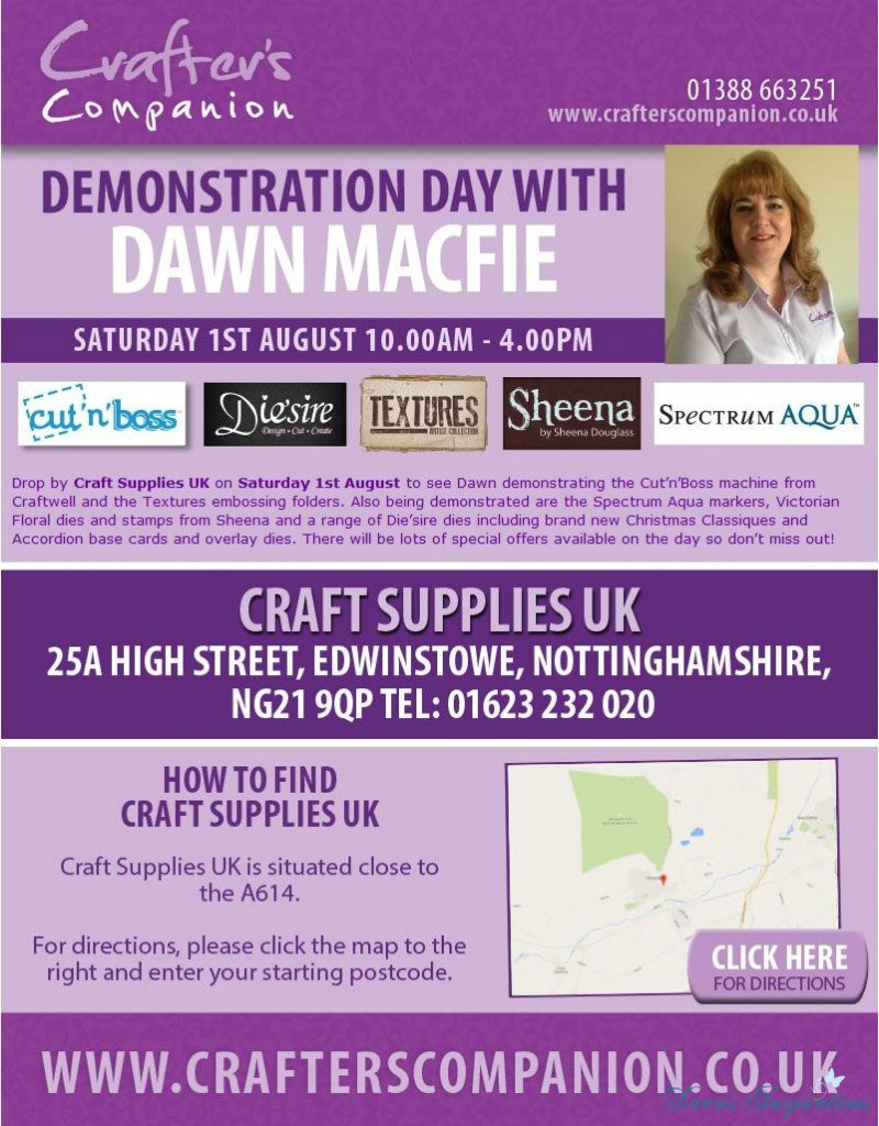 Crafters Companion Demo Day Saturday 1st August