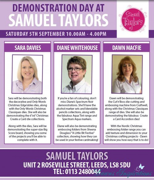 Dawn with Sara Davies Demonstrating at Samuel Taylors in Leeds
